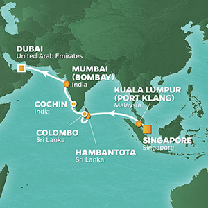 Azamara Cruises | 15-Nights from Singapore to Dubai Cruise Iinerary Map